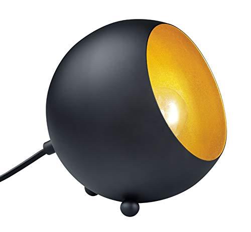 Reality Leuchten R50101032 Billy A++ to E, Tischleuchte, Metall, E14, schwarz matt / goldfarbig, 14 x 15 x 15 cm