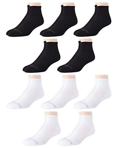 Body Glove Men's Athletic Compression Cushion Comfort Quarter Cut Socks (10 Pack), Size Shoe Size: 6-12.5, White/Black