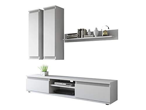 Wohnwand Check, mit 2 Hängeschränke TV-Lowboard und Wandregal, Wohnzimmerschrank, Matt (Weiß/Weiß + Graphit.)