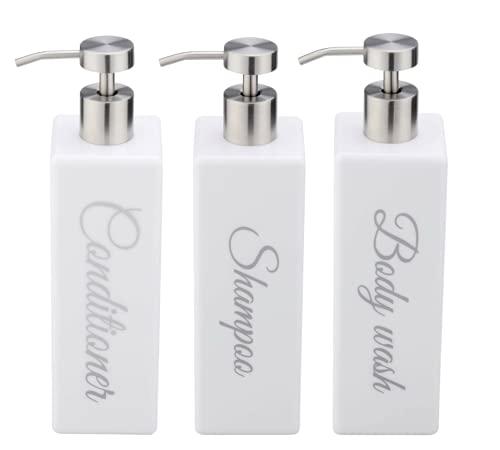 Dispensador de champú, acondicionador y lavado corporal de acrílico blanco con etiqueta permanente plateada, dispensador de ducha, dispensador de champú, dispensador de baño (juego de 3)