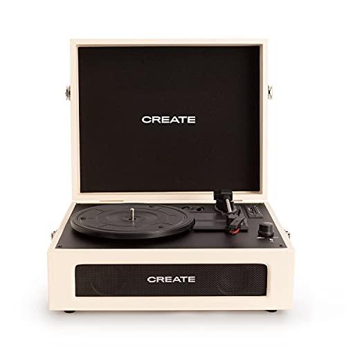 CREATE Record Player Compact - Tocadiscos Plato giradiscos, Plato Vinilo, Retro con Bluetooth, Plato Vinilo 33/45/78 RPM, Altavoces Integrados, USB, SD, MicroSD, Reproductor Mp3 Record y Player