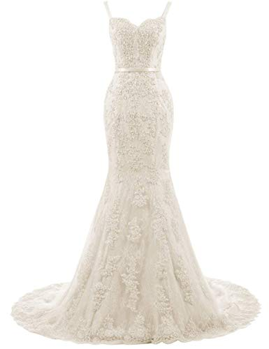 HUINI Ballkleid Lang Spitzen Brautkleider Abendkleider Meerjungfrau Prinzessin Partykleid Maxikleid Ärmellos Champagne 42