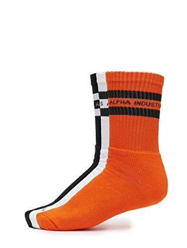 Alpha Industries Herren Socken 3 Pack Stripes orange 36-40