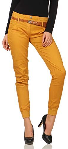 Malito Damen Chino Hose inkl. Gürtel   Stoffhose mit Stretch   lässige Freizeithose   Skinny - elegant 5396 (L, dunkelgelb)