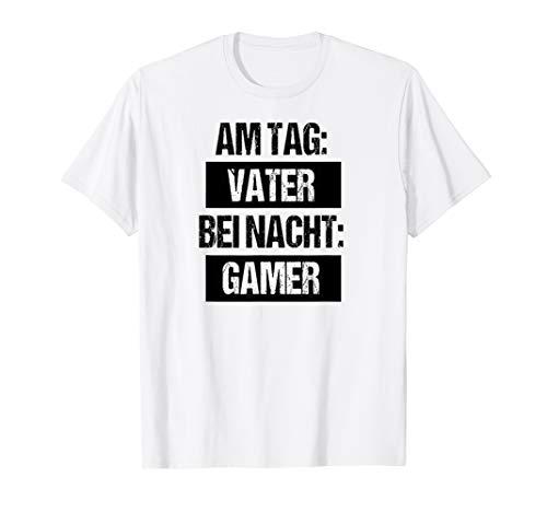 Tag Vater Nacht Gamer Zocker Vatertag Geschenk Shirt Lustig T-Shirt