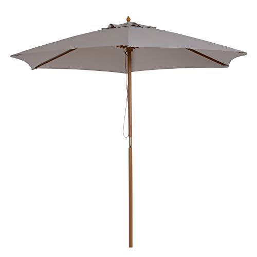 Outsunny Sonnenschirm, Gartenschirm, 3-stufig, Sonnenschutz, Bambus 180/㎡ Polyester, Grau, Ø2,5 x 2,3 m