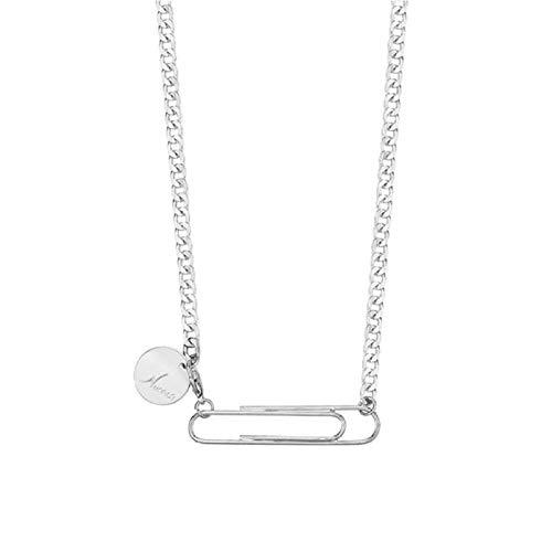 Pmhhc Mode Lange Gold Halskette für Frauen Runde Brief Kupfer Anhänger Büroklammer Halskette weibliches kaltes Licht-Silber