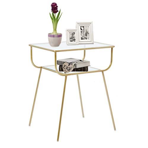 EKR Mesita de noche esquinera lateral para sala de estar, dormitorio, 2 niveles de cristal templado, metal dorado (49 cm x 33 cm x 59 cm)