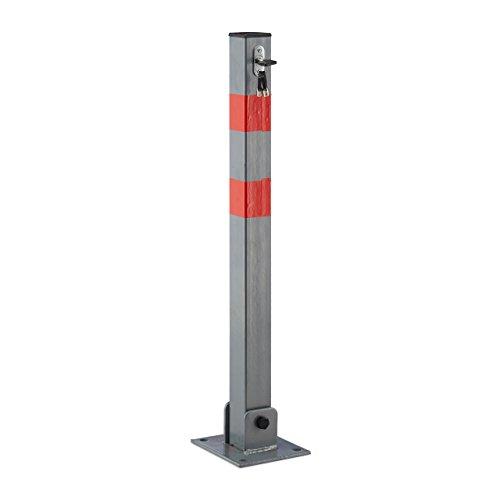 Relaxdays afsluitpalen vierkant h x b x d: 65 x 15 x 13 cm blokkering van parkeerplaats of doorgang opklapbare pijler met 3 sleutels voor slot als palen met rode waarschuwingsstrepen, antraciet