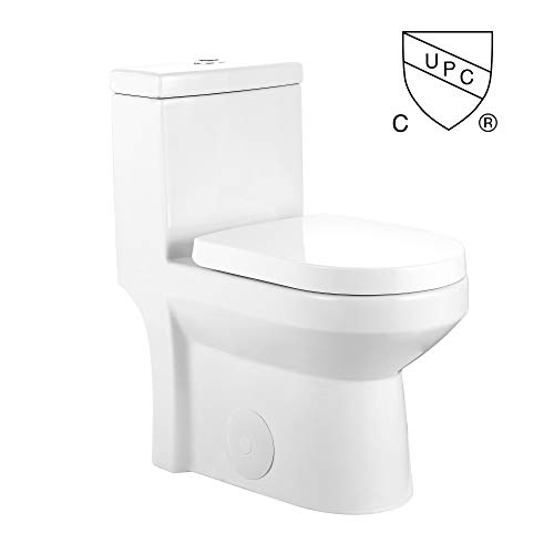 DeerValley DV-1F52812 Modern Small One-Piece Toilet, Compact Bathroom Tiny Mini Commode Water Closet Dual Flush Concealed (White)
