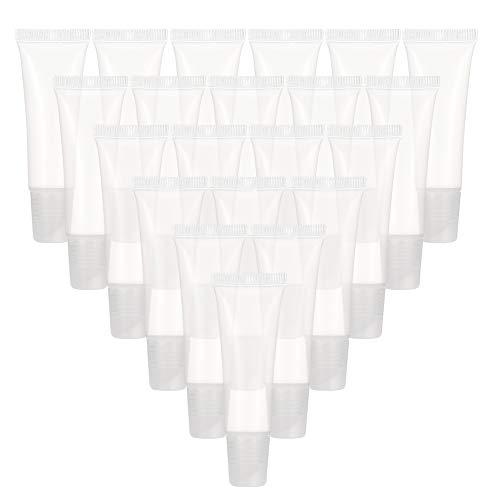 falllea 40 Piezas de Tubos Vacíos Transparente Rellenable Plástico Tubos Suave Contenedor de Cosmético Tubo Vacío Cosmética de Viaje para DIY Tubo Brillo Labial y Viaje Maquillaje - 8 ml
