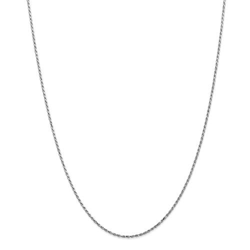 Or blanc 14 carats 1,2 mm Machine en corde chaîne collier - 14 '- JewelryWeb