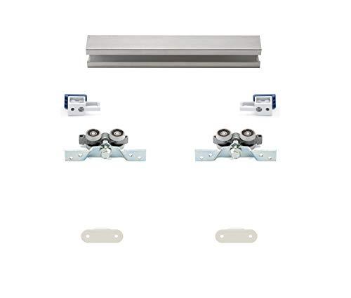 Schiebetürbausatz Standard als Hängesystem für 1 Flügel inkl. Beschlag und einer oberen Laufschiene in 2500 mm | Holz-Füllung kommt von Ihnen – 18-40 mm möglich | Geeignet für Durchgangstüren