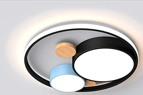 Lámpara De Techo Regulable Con Mando A Distancia Para Habitación Infantil,Plafón Led De Techo Niña,Lámpara Creativa Simple Redonda Doble Luz Blanca Tipo F-Azul Marino Profundo 45Cm