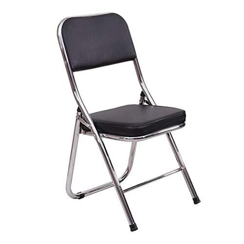 QIDI Chaise Pliante, Chaise de Bureau, Chaise d'ordinateur, Chaise de Formation, Chaise Longue, Cuir PU, métal, Simple Moderne - avec WordPad - Noir (Taille : PW1)