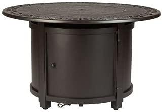 Fire Sense 62410 Longpoint Round Aluminum LPG Fire Pit Table, Antique Bronze
