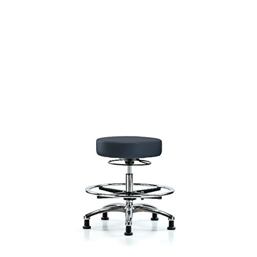 Vinyl Medium Bench Height Large-scale sale Stool El Paso Mall Ring Foot - Chrome Base