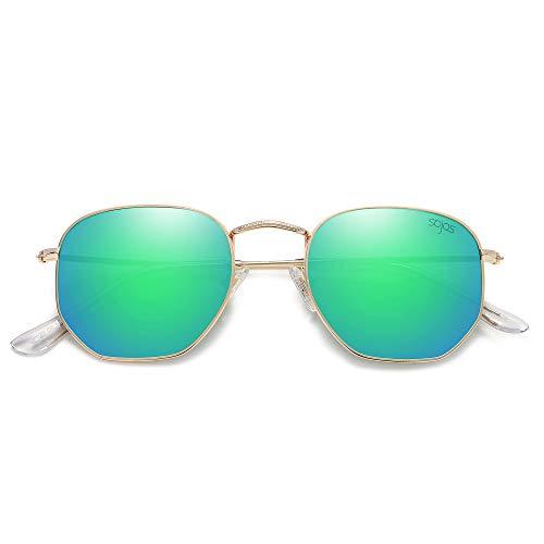 SOJOS Clásico Polígono Espejo Lentes UV Portección Unisex Gafas de Sol Polarizado SJ1072 (C9 Marco Dorado/Lente Espejo Verde)