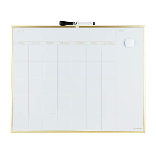 U Brands Magnetic Monthly Calendar Dry Erase Board, 20 x 16 Inches, Gold Aluminum Frame - 364U00-01