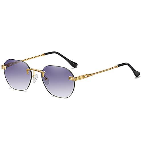 LUBENWEI Gafas de Sol sin Marco de Metal Hombres y Mujeres Calle Pequeño Marco Moda Gafas de Sol de Moda Gafas de Sol Multicolor Multicolor (Color : Dark Purple)