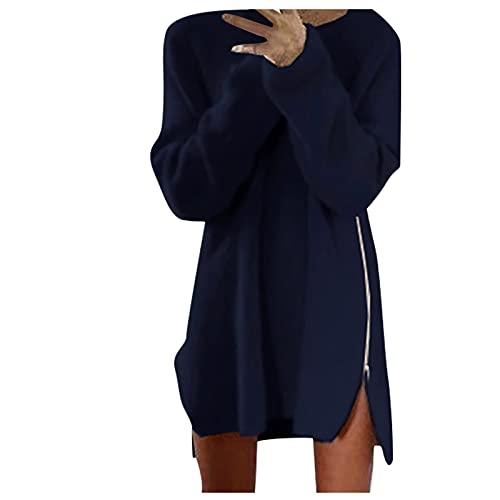 Kolylong® Strickkleid Damen Langarm pulloverkleid Elegant Einfarbige Winterkleid Casual Warme Reißverschluss Etuikleid Pulli Herbst Winter...