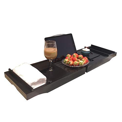 YANXS Bandeja de Bañera de Bambú Premium, Bandeja de baño Universal con Soporte para iPad/reposa Libros, Organizador de Baño Inferior Antideslizante Lados Extensibles 75-109X23X4.5CM,Negro