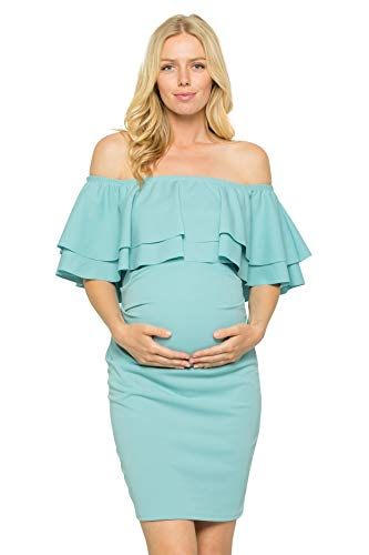 My Bump Double Layer Ruffle Maternity Dress-Fitted Off-Shoulder Baby Shower Pregnancy