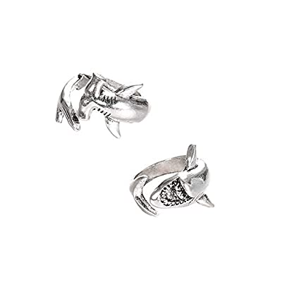 shiYsRL Exquisite Jewelry Ring Love Rings 2Pcs/Set Vintage Adjustable Alloy Shark Open Rings Unisex Party Jewelry Gift Wedding Band Best Gifts for Love with Valentine's Day - Silver