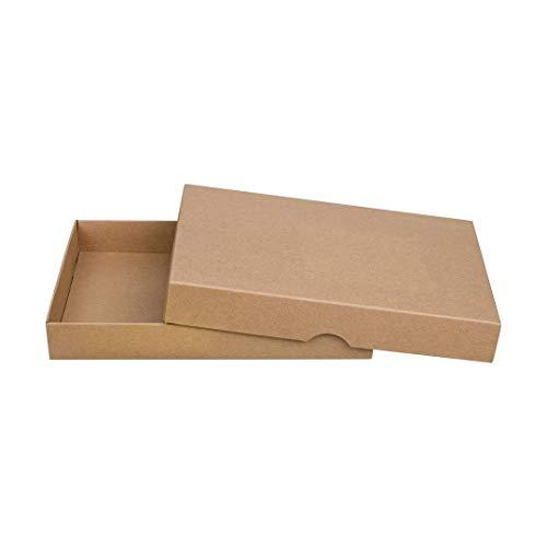 Faltschachtel, DIN A5, Füllhöhe 25 mm, mit Deckel, Vintage, Kraftpapier, Kraftkarton, Geschenkschachtel, Fotoschachtel, Archivschachtel - 10er Pack