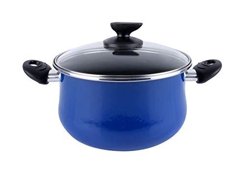 Magefesa Danubio - Olla 24cm de acero vitrificado exterior azul. Antiadherente bicapa reforzado, apta para todo tipo de cocinas, especial inducción. 50% de ahorro energético.