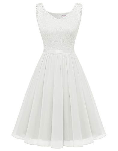 BeryLove Spitzenkleid Weiß Damen Abendkleid Elegant Cocktailkleid Chiffon Brautjungfernkleid Knielang für Hochzeit Abschlusskleid BLP7023 White XL