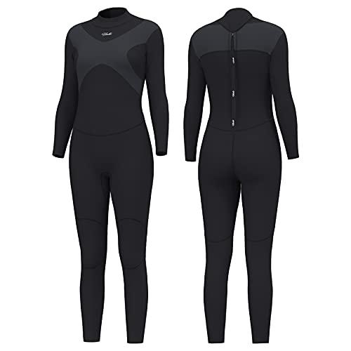 Hevto Wetsuits X - Traje de neopreno para mujer, 3 mm, para buceo, surf, natación, manga larga, con cremallera en la espalda (X-Women gris, M1)