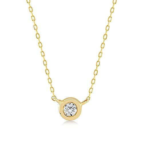 GELIN Collar con colgante de halo redondo de 0,05 quilates en oro macizo de 14 quilates, joyería de halo para mujer