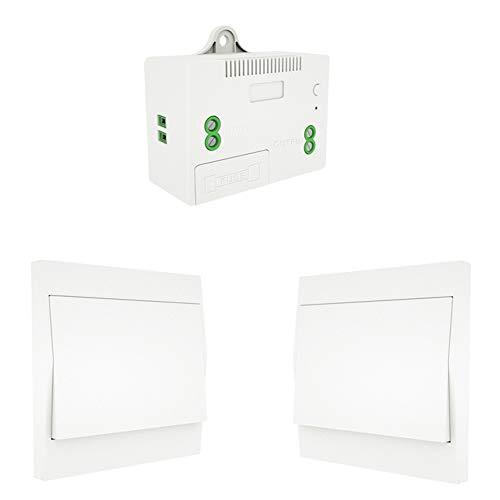 MOES Interruptor Inalámbricas Autoalimentado de Luz Conmutador RF433, Sin Cables Sin Bateria, Interruptor pared con Receptor Lámpara Casa Iluminación(kit de 2 vía)