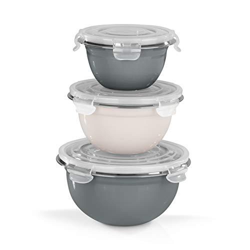 GOURMETmaxx Edelstahlschüsseln klick-it 3er Set mit Deckel | Geeignet für Spülmaschine und Gefrierschrank | Ineinander stapelbar, Aroma Versiegelung [1.350 ml, 800 ml und 500 ml]