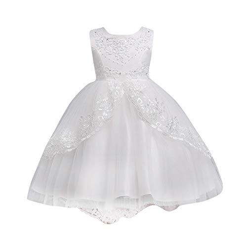 Xmiral Tutu Vestito Abito Gonna Arco Festa Cosplay Abito da Sposa Vestito della Principessa Ruffles Fiori Senza Maniche Bambine Altezza: 140CM Bianco