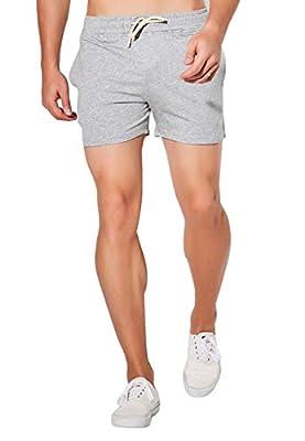 "JackieLove Men's Joggers Sweat Gym Running Workout Athletic Shorts, Grey, Waist:32""-34"""
