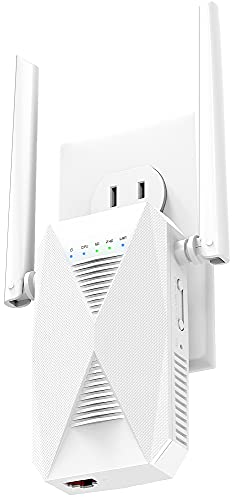 newest WiFi Extender - 2021 release - 1.2 Gigabit Dual Band Signal Range Booster, up to 3000sq.ft - 5 GHz/2.4 GHz, Network Repeater, 30+ Devices, Indoors/Outdoors, Easy One-Click Set Up, Ethernet Port