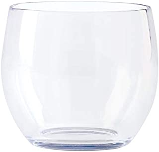 G.E.T. Enterprises Clear 8oz. Stemless Wine, Break Resistant Dishwasher Safe San Stemless Wine Glasses Collection SW-1460-CL-EC (Pack of 4)