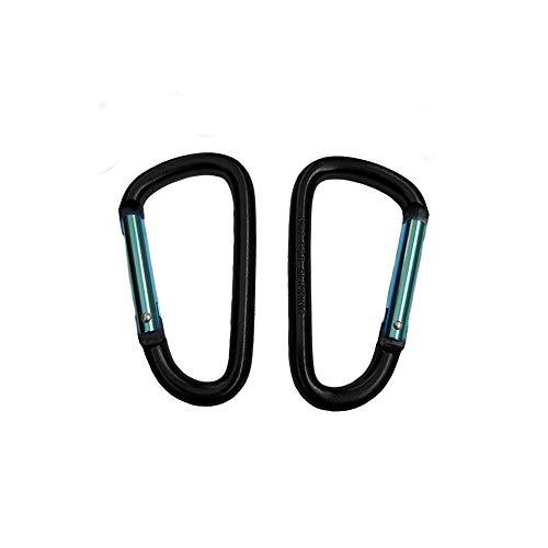 Mosquetón de Aluminio Resistente D-Anillo de Seguridad de Clave de Seguridad Camping Escalada Senderismo Llavero Negro.