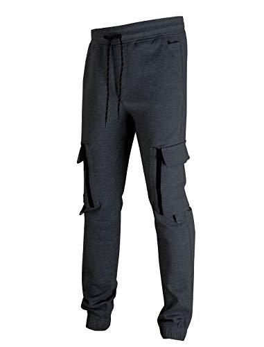 SCREENSHOTSPORTS-A4058 Mens Premium Double Sided Interlock Fleece Utility Cargo Pants - Athletic Jogger Workout Gym Zipper Pockets Sweatpants-CH-3X