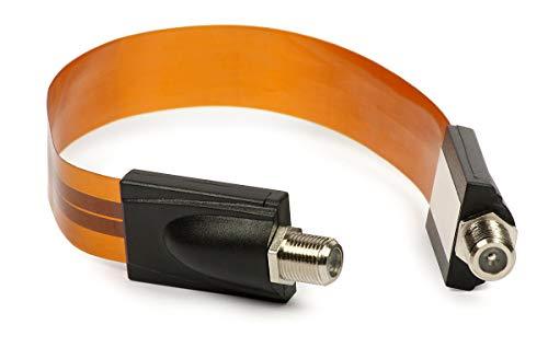 すき間 フラット アンテナ ケーブル 約26.5cm F形接栓 すき間ケーブル 地デジ 信号導入 内引き込み折り曲げ可能 F端子型 サッシ/窓用 (取り付け用両面 テープ付)-1本入