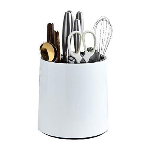 jixi Bloque de cuchillos multifuncional giratorio para cuchillos de cocina, soporte para cuchillos de cocina (color: blanco)