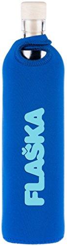 FLASKA® | Botella de Agua de Cristal Reutilizable Sin BPA | Fabricada en Italia (UE) con Vidrio de 1ª Calidad y Mayor Grosor | Incluye Funda Protectora de Neopreno | 500ml