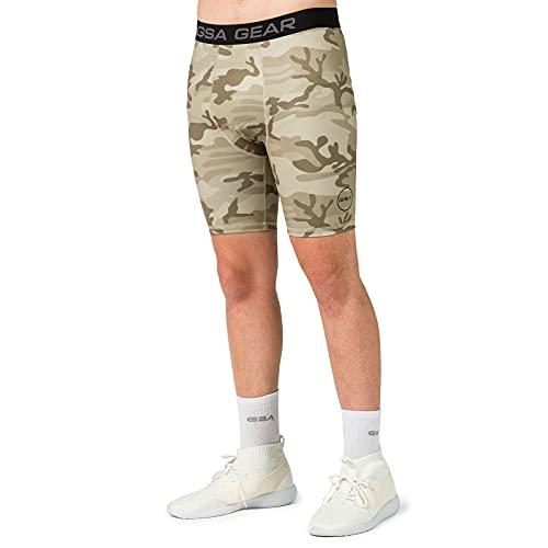 GSA Camo Biker Tights with Side Pocket Pantalones Cortos de Yoga, Caqui, L para Hombre