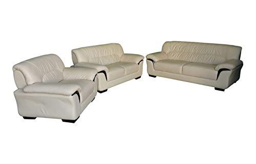 Design Voll-Leder-Sofa-Garnitur-Polstermöbel-Ledergarnitur Ledercouch Sessel 327-3+2+1-317