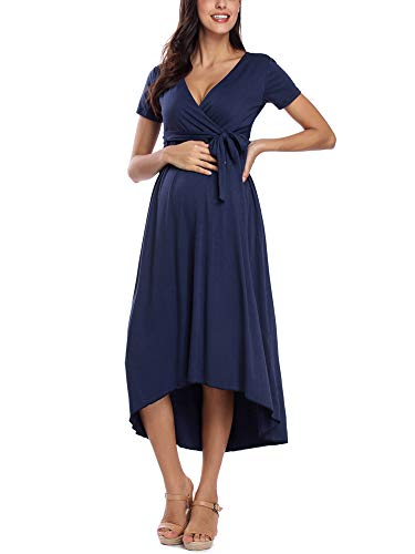 Liu & Qu Women's Maternity Casual Floral V Neck Waist Tie Irregular Hem Maxi Dress Navy
