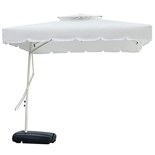 HPPOPE Sombrilla De JardíN En Voladizo De 2,2 M, Sombrilla De PláTano Colgante Grande con Mecanismo De Manivela, Parasol De JardíN Al Aire Libre, ProteccióN UV,White