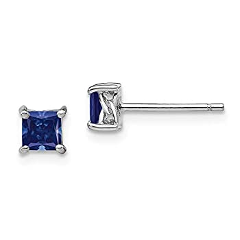 925 Sterling Silver 4mm Princess Created Sapphire Post Stud Earrings Birthstone September Prong Gemstone Fine Jewelry For Women Gifts For Her