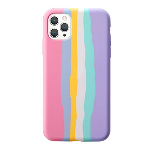 Yesun K - Custodia protettiva in silicone liquido per iPhone 11 12 Mini Pro Max con motivo a righe arcobaleno, colore: rosa